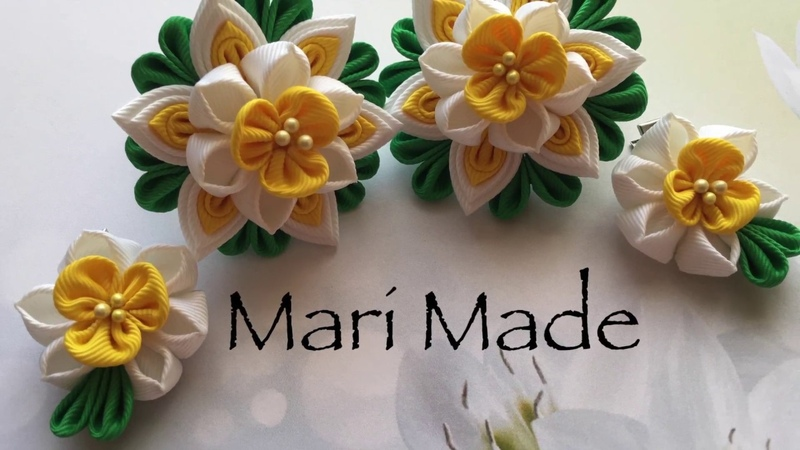 Kanzashi Daffodils Hair bobbles Канзаши Нарциссы МК Многослойки
