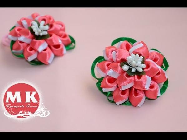 Мастер класс Канзаши Цветы из лент Резинки для волос Цветы Канзаши Scrunchy Flowers kanzashi