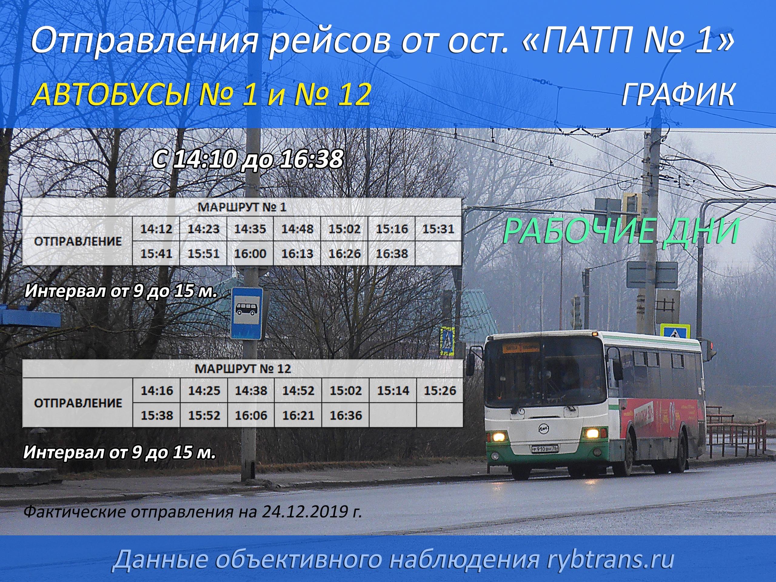 Расписание от ПАТП №1