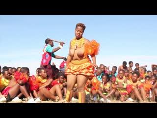 Daddy's little half naked african zulu black girls dancing