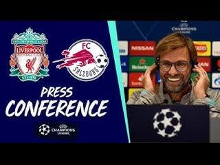 Liverpool's pre-salzburg champions league press conference   jürgen klopp & sadio mane