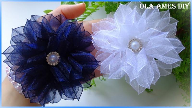 Цветы из органзы 1,5 см/ Канзаши/ Organza Ribbon Flower/ Kanzashi/ Flores de fitas Ola ameS DIY