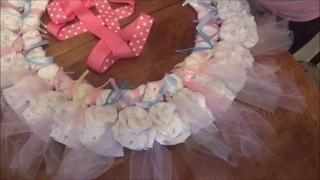 Large Baby Girl Tule Diaper WreathTutorial