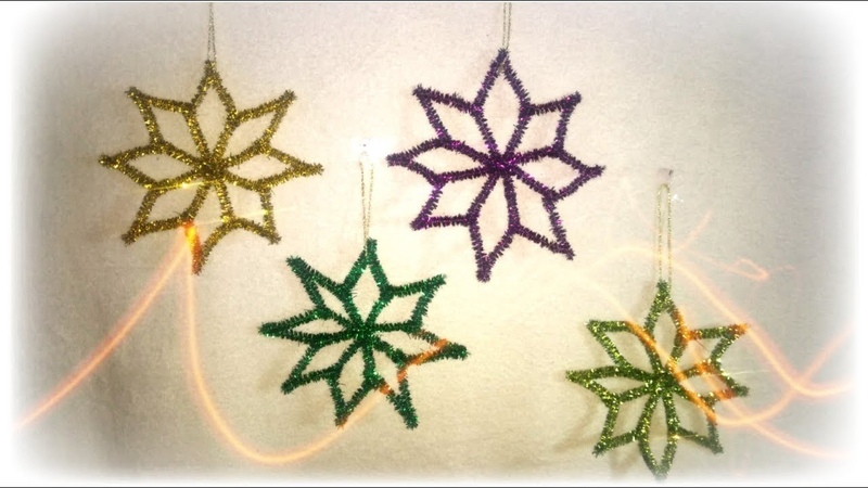 Estrellas navideñas con limpiapipas stars with pipe cleaners