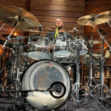 "Eric Moore on Instagram ""Expressions in the studio. dope drum sticks zildjian dw aquarian"""