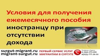 Условия для получения ежемесячного пособия иностранцу при отсутствии дохода