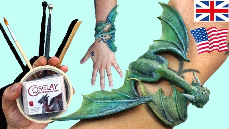 Making a Polymer Clay Bracelet with Dragon! EPIC! - Time Lapse Tutorial Cosclay