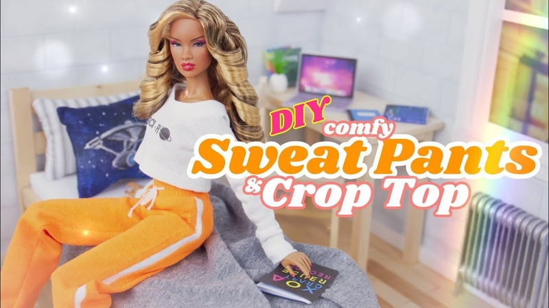 DIY - How to Make: Miniature Sweat Pants Crop Top 1/6th Scale Sewing Craft