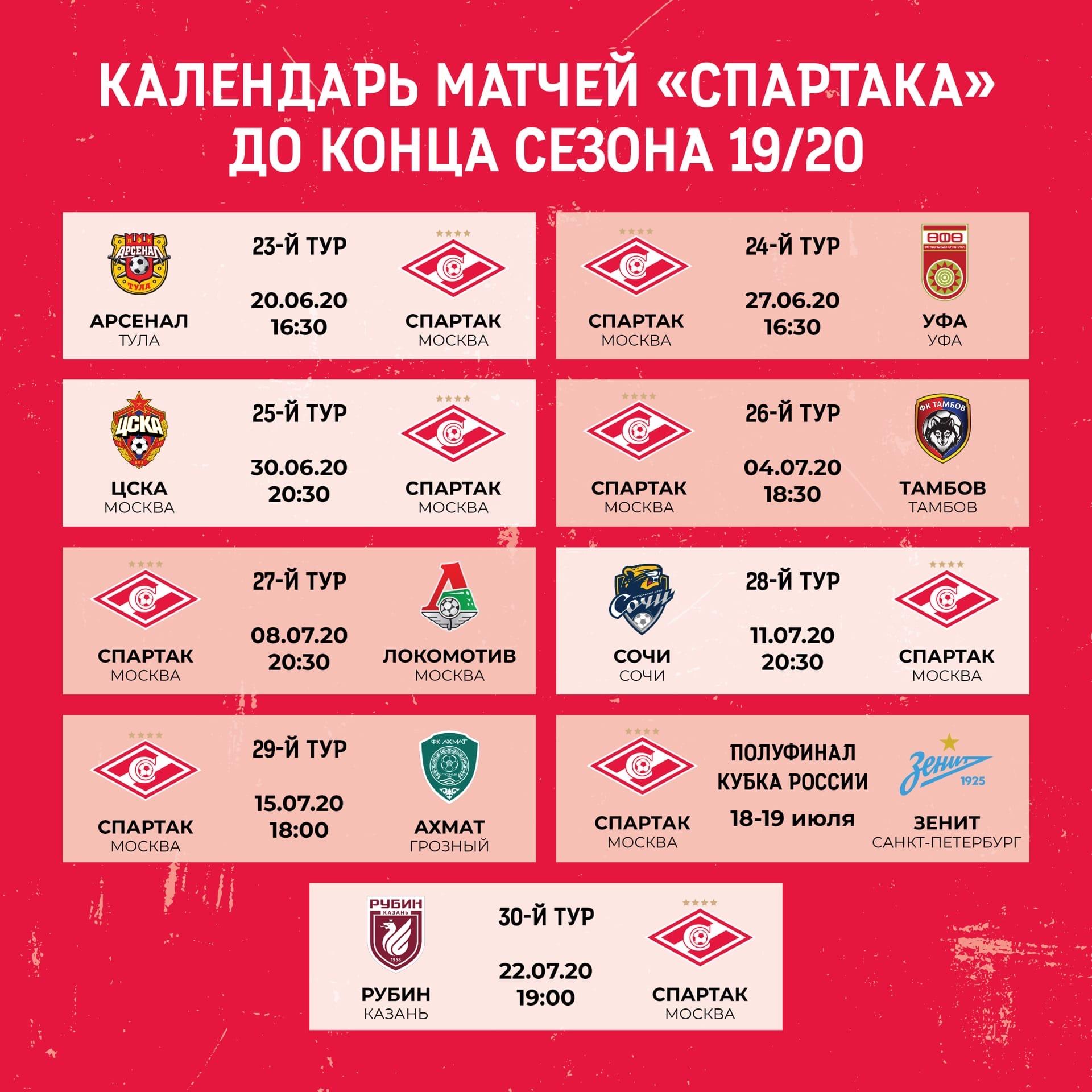 Расписание матчей «Спартака» до конца сезона 2019/20