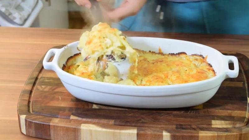 Сливочная картофельная запеканка с лесичками Kartoffelgratin