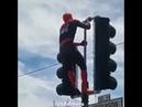 Человек-Паук танцует на светофоре