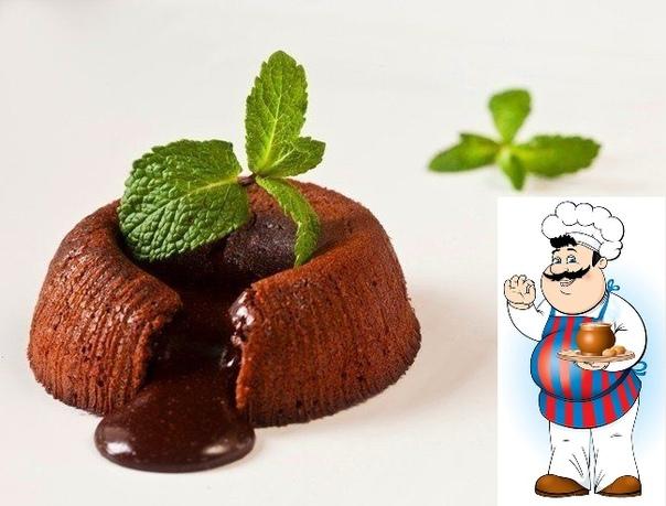 Фондан шоколадный Ингредиенты: Шоколад темный 100 г Сливочное масло 100 г Яйца 2 шт. Сахарная пудра 4 ст. л. Мука 2 ст. л. Какао-порошок по вкусу Приготовление: 1. На водяной бане (над