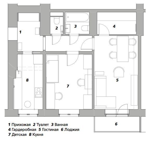 Квартира в доме 1948 года, 55 м² от Елены Зуфаровой || 02