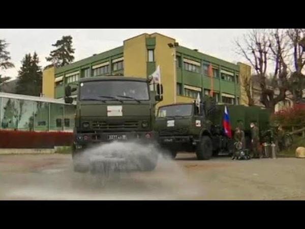 Российские военные продолжают дезинфекцию в Италии