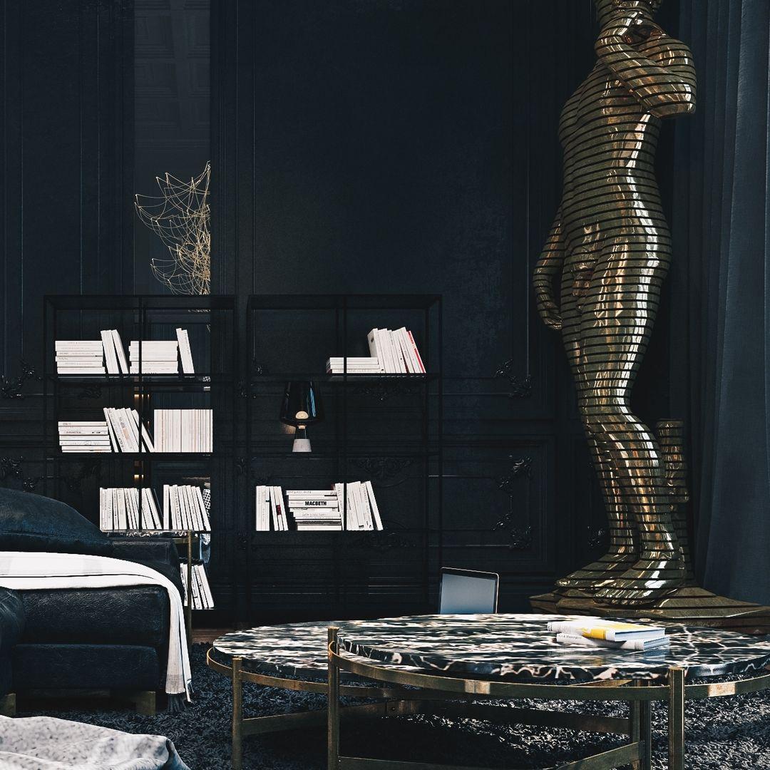 Black Apartment designed by Diff Studio located in Paris, France⠀
