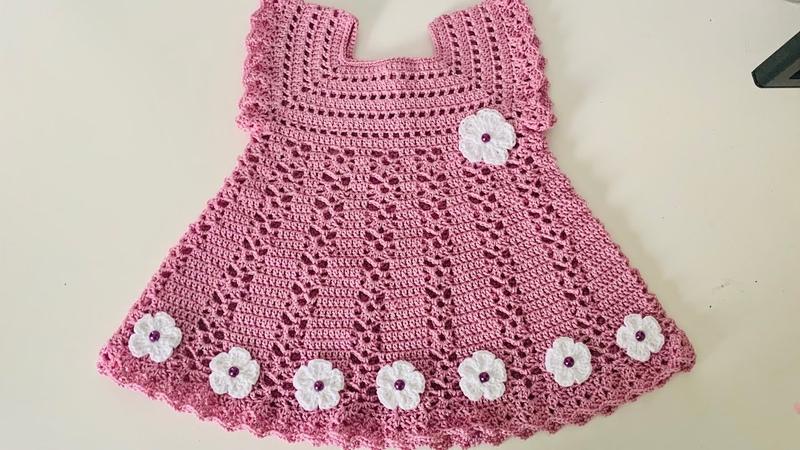 Vestido para Bebe Tejido a Crochet 0 a 3 meses paso a paso Tejidos Bebe