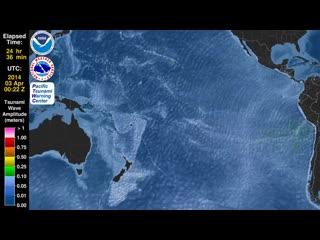 Цунами-tsunami animation_ iquique, chile, 1 april 2014