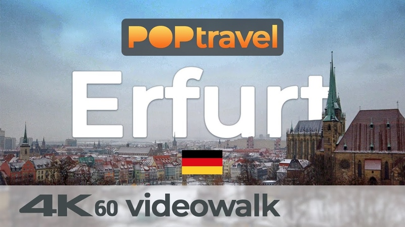 Walking in ERFURT Germany around the Old Town 4K 60fps UHD