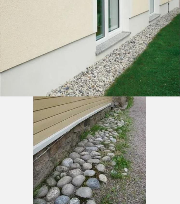 Отмостка из гравия (щебня) или натурального камня