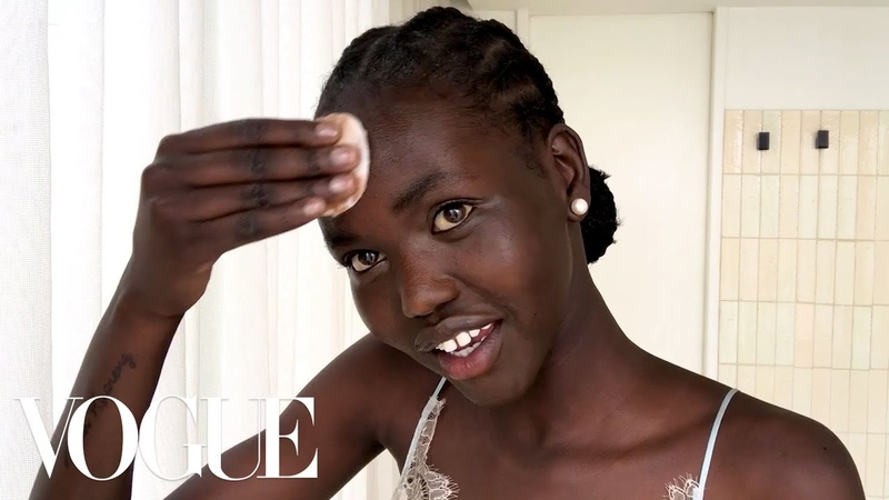 Model Adut Akechs 5-Minute Bedtime Routine for Glowing Skin | Beauty Secrets | Vogue