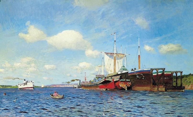 """""""Свежий ветер. Волга"""". 1895г. ГТГ"""