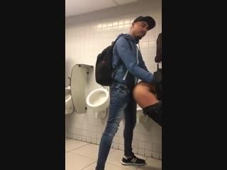 Worker fucking in public bathroom