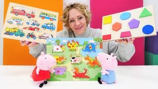 Spielspaß mit Peppa Wutz. Peppa und Schorsch machen Puzzles. Spielzeug Video mit Nicole