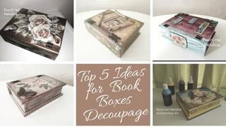 Top 5 #Ideas For Box Book #Decoupage - Las 5 ideas para decoupage de libro de caja - Dekupaz ideje