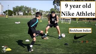 9 year old Beckham FULL Soccer Session   Nike Athlete   Joner 1on1 Football Training