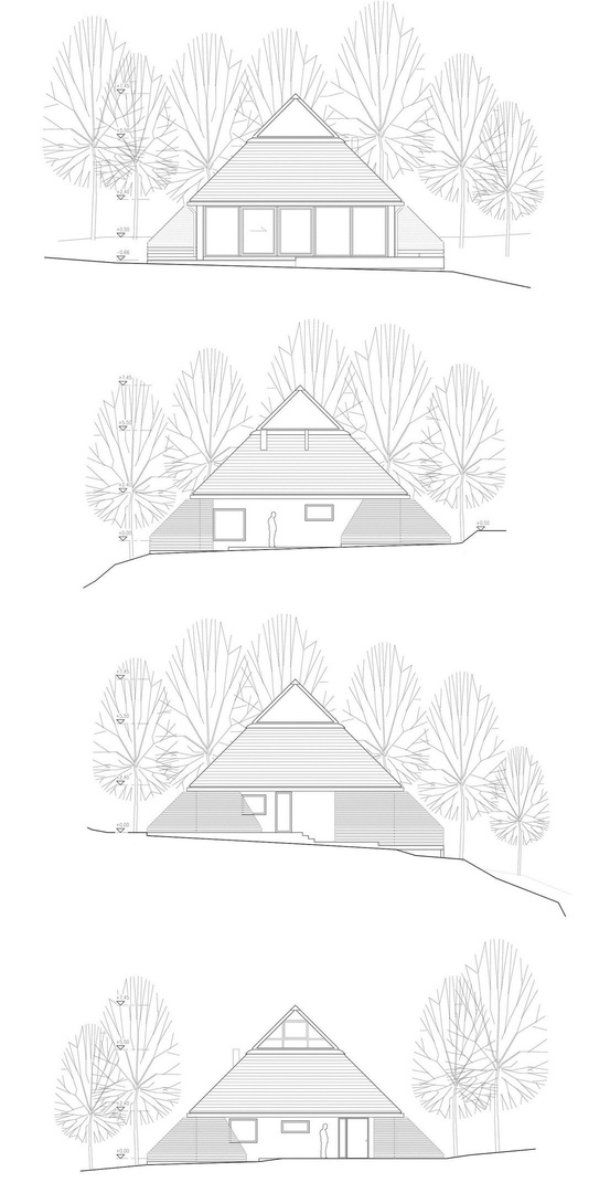 Дом-пирамида на берегу озера