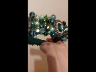 Очаровательный ободок и серьги из зелёного агата, чешского хрусталя и брошей. т. 8 908 068 51 68  Viber, WhatsApp
