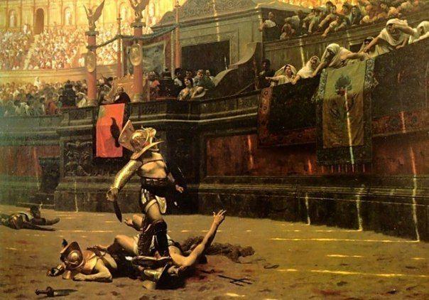 10 ФАКТОВ О ГЛАДИАТОРАХ Первый известный нам поединок гладиаторов в Риме был устроен в 264 до н.э. на похоронах Децима Брута Перы. Таким образом, его сыновья почтили прах отца. В первом бою