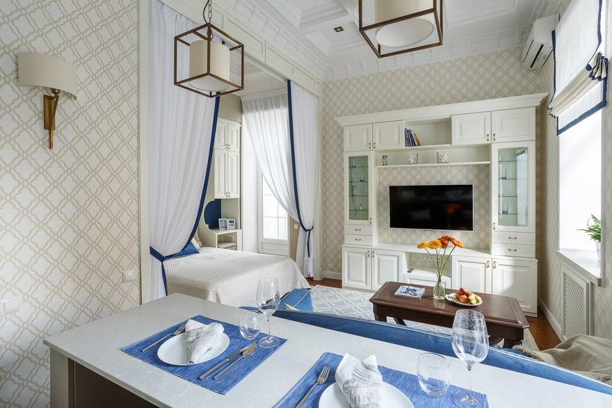 Интерьер квартиры-студии 38 м в Москве в стиле неоклассика.