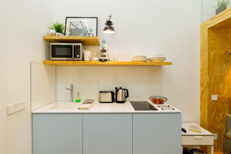 Интерьер гостевой квартиры-студии в Венгрии.
