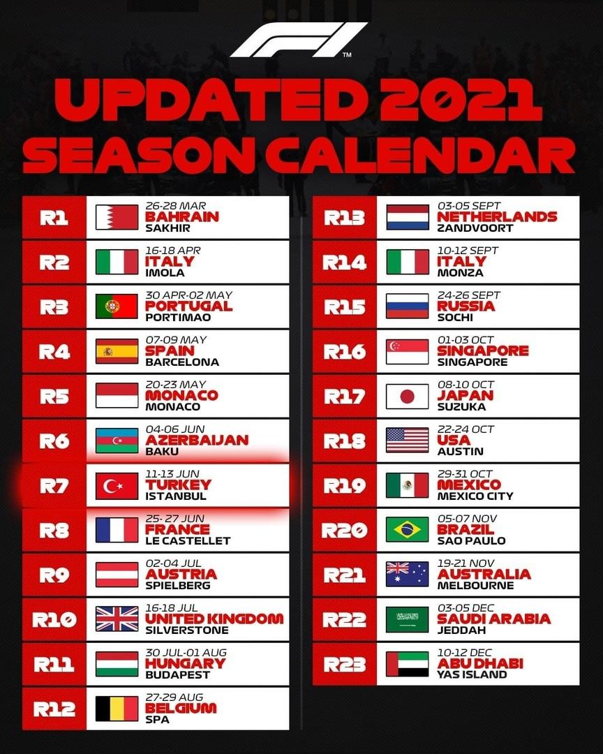 F1 2021 calendar changes, April