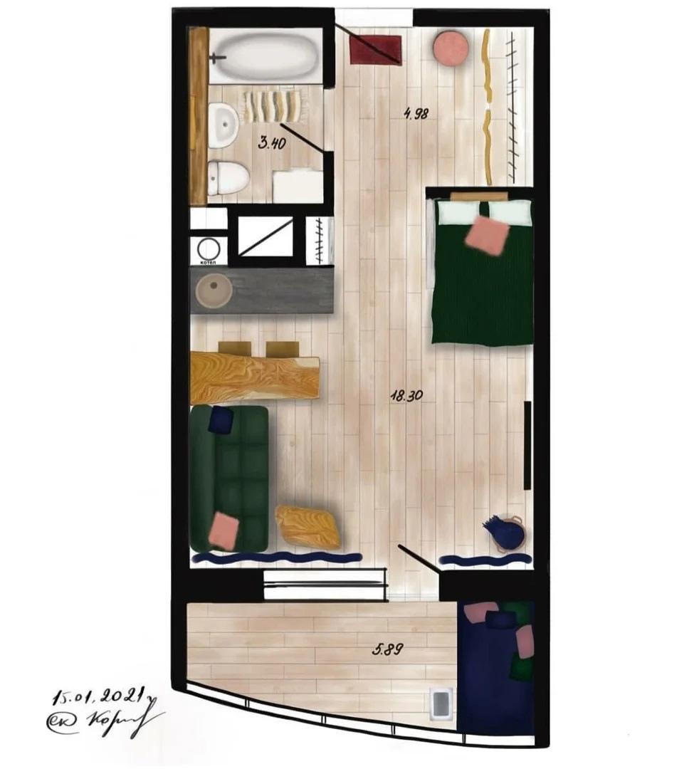 Гостевая квартира-студия 27 кв.