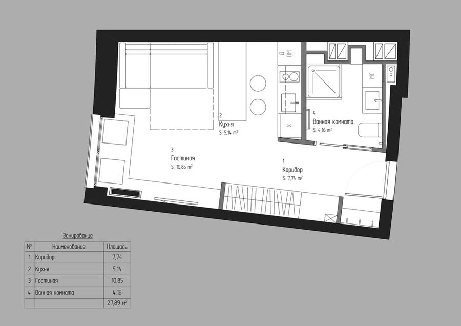 Проект квартиры-студии 28 м.