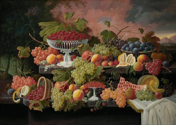 «Двухъярусный натюрморт с фруктами на фоне заката», Северин Розен