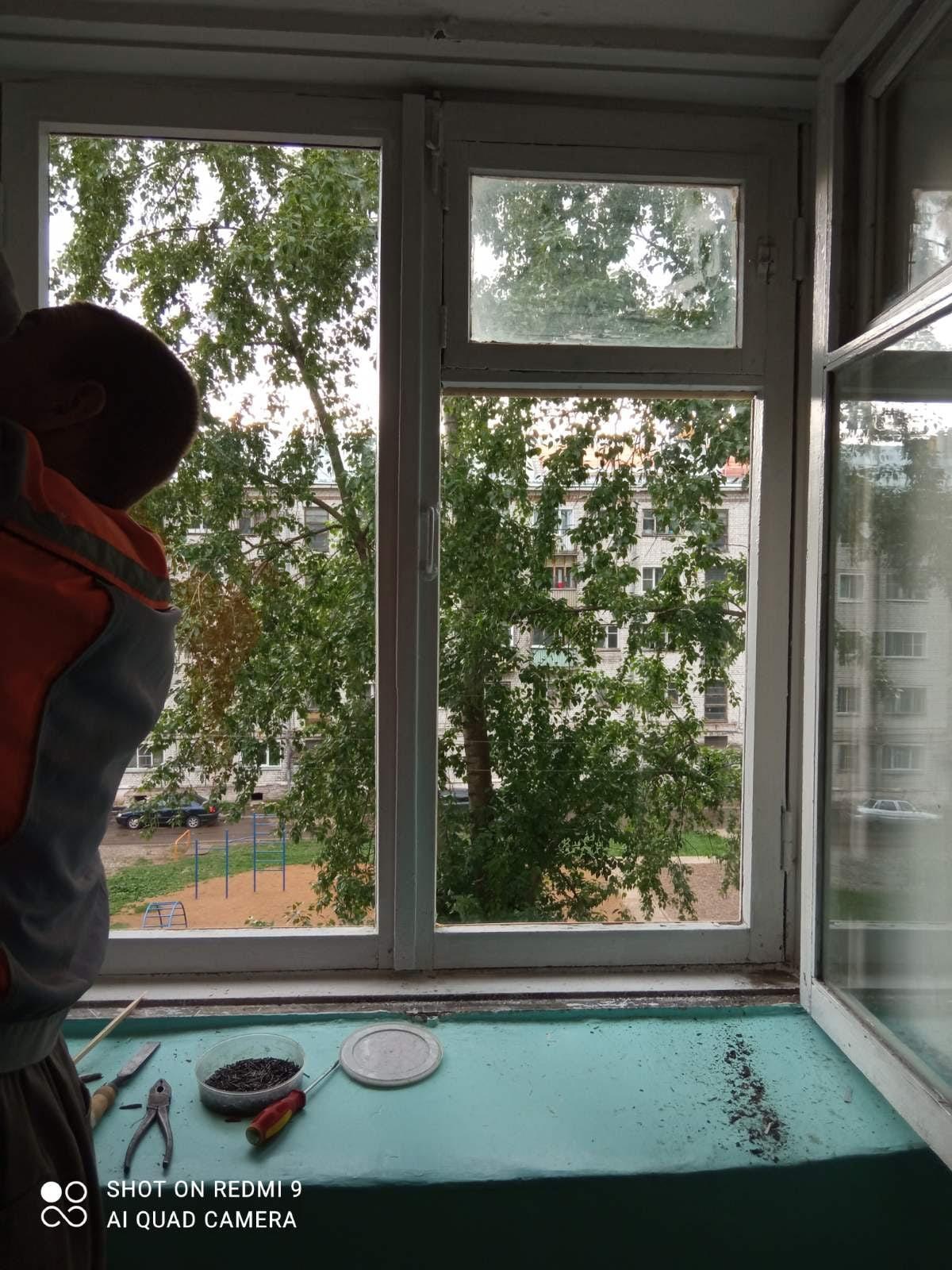 Октябрьский проспект 34 остекление лестничных клеток, установка