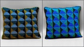 Декоративная подушка 3D узором. Ромбы тунисским крючком. Часть 1. Crochet pillow 3D pattern. Part 1
