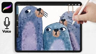 Watercolor Seals Illustration  // SASSY SEALS // Watercolor for Procreate Tutorials