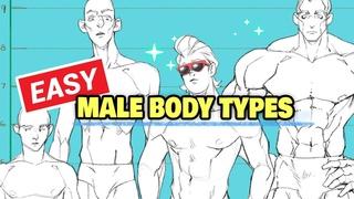 🧍 HOW TO DRAW MALE BODY TYPES (average, fat, demigod, skinny, dad)