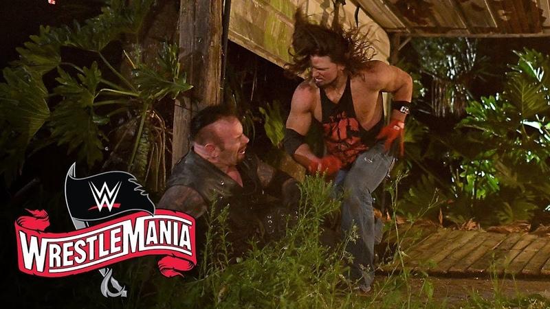 AJ Styles throws The Undertaker through graveyard fence WrestleMania 36 WWE Network Exclusive