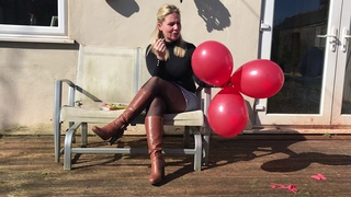 Girl smoking BalloonsPopping and Cigarettes in skirt tights pantyhose and knee high boots