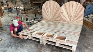 DIY - Amazing How To build A King Size pallet Bed Extremely Simple and Beautiful / Woodworking