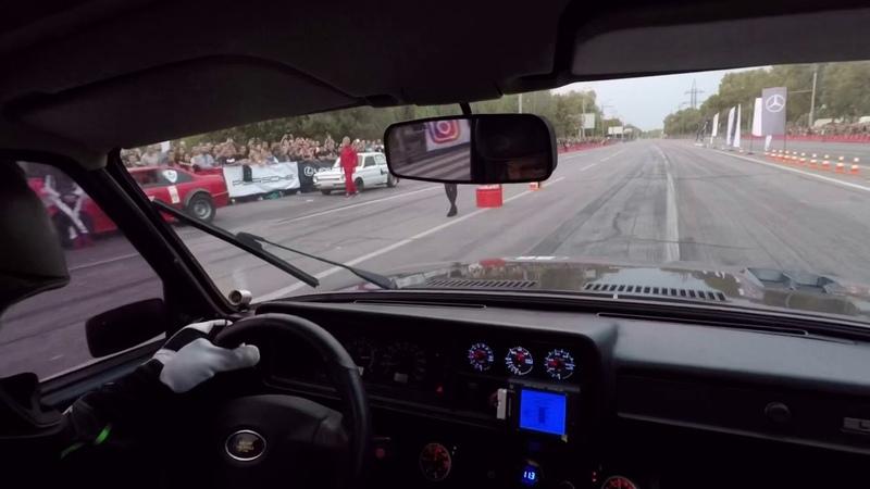 Вид из салона Ваз 2107 Амаг Заезд с Mustang Shelby gt500