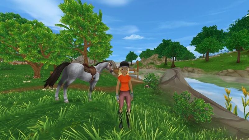 Футаж Потрясающий пейзаж На берегу у речки лошадка Милады по имени Звёздная Роса щиплет травку
