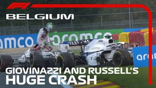 Giovinazzi & Russell Race-Ending Crash at Spa | 2020 Belgian Grand Prix