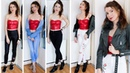 How To Style Red Leather Bralette | Lookbook Leather Leggings Jeans