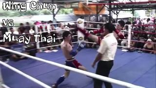 Qi La La Wing Chun vs Heavier Muay Thai Champion